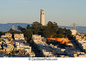 San Francisco - Coit Tower at sunset in San Francisco