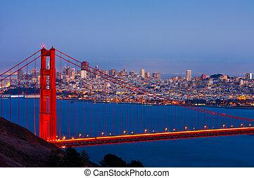 San Francisco and Golden Gate Bridge at night