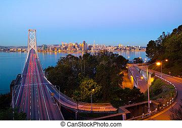 San Francisco  - Bay Bridge and San Francisco downtown