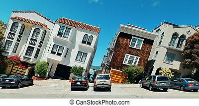 San Francisco street - street on hill in San Francisco...
