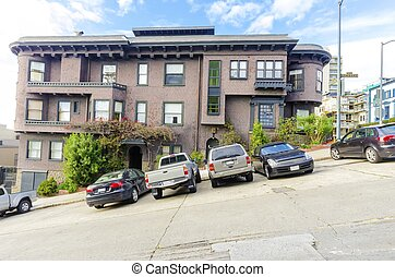 San Francisco street - A typical steep incline hill street...