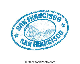 San Francisco text - Grunge rubber stamp with Golden Gate...