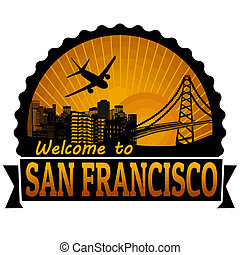 San Francisco travel label or stamp