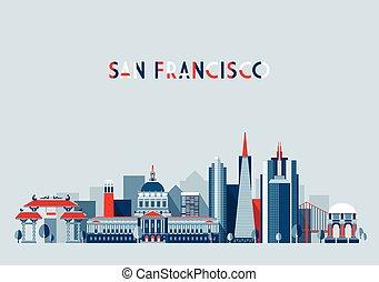 San Francisco United States city skyline flat