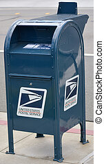 SAN FRANCISCO, USA - MAY 20 2015:United States Postal Service postal box. In 2014, the Postal Service collected $67.8 billion in revenue