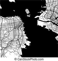 San Francisco, USA, Monochrome Map Artprint