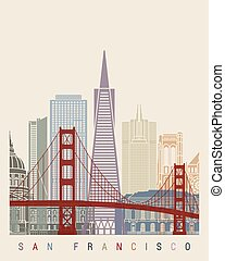 San Francisco v2 skyline poster