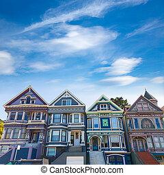San Francisco Victorian houses in Haight Ashbury California...
