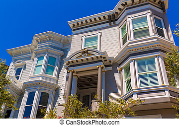 San Francisco Victorian houses in Pacific Heights California...