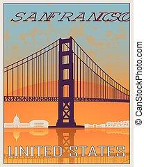 San Francisco vintage poster in orange and blue background...