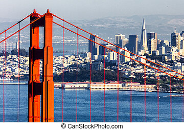 San Francisco with the Golden Gate bridge - San Francisco...
