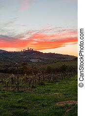 San Gimignano medieval town at sunset