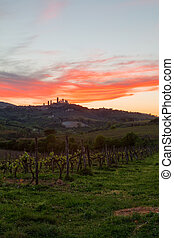 San Gimignano medieval town at sunset