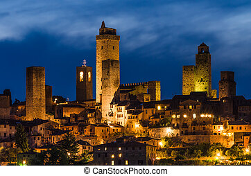 San Gimignano night, Tuscany