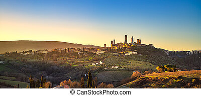 San Gimignano panoramic medieval town towers skyline and landscape. Tuscany, Italy