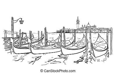 San Giorgio Maggiore church and Lido island sketch - Vector...