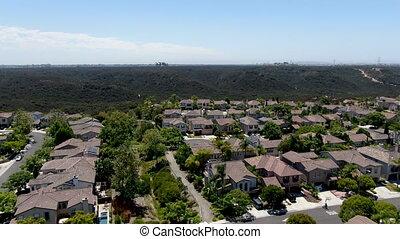 san, grand, diego, résidentiel, typique, voisinage, subdivision, vue aérienne, villas