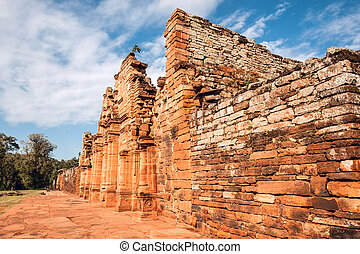 San Ignacio-Mini mission founded in 1632 by the Jesuits, Misiones Province, Argentina.
