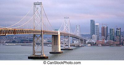 san, isla, vista, bahía, vistos, aéreo, puente de oakland, ...