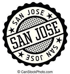 San Jose black and white badge. Typographic label series.