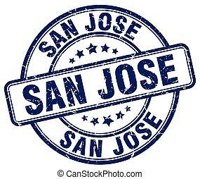 San Jose blue grunge round vintage rubber stamp