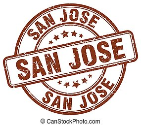 San Jose brown grunge round vintage rubber stamp