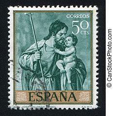 San Jose by Alonso Cano - SPAIN - CIRCA 1969: stamp printed...
