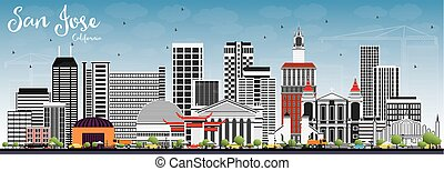 San Jose California Skyline with Gray Buildings and Blue Sky.