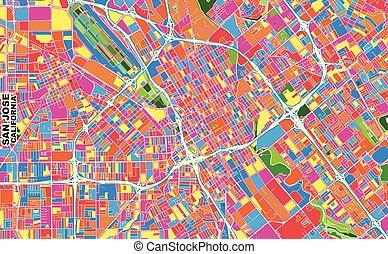 San Jose, California, U.S.A., colorful vector map