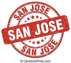 San Jose red grunge round vintage rubber stamp