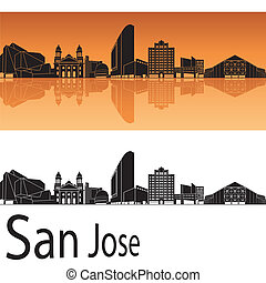 San Jose skyline in orange background in editable vector...