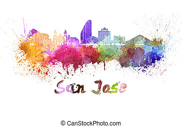 San Jose skyline in watercolor splatters with clipping path