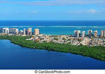 San Juan aerial view with blue sky and sea. Puerto Rico.