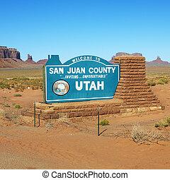 San Juan County, Utah. - Welcome sign in desert for San Juan...