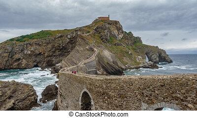 San Juan de Gaztelugatxe island and church time lapse -...