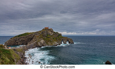 San Juan de Gaztelugatxe islet and church time lapse, bottom...