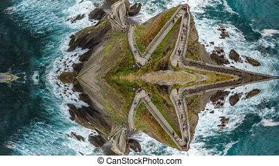 San Juan de Gaztelugatxe reflex timelapse of zigzag - Top of...