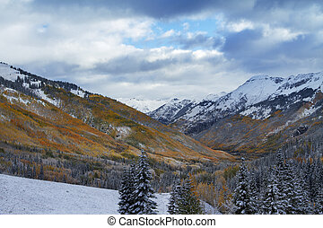 San Juan Mountains in Fall Colors and Snow, Colorado