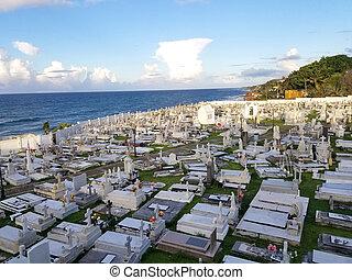 SAN JUAN, PUERTO RICO - SEP, 2017: Overview of the Cementerio de Santa Maria Magdalena de Pazzis cemetery in San Juan, Puerto Rico