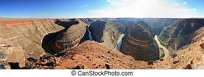 panoramic image of the incised meanders of the goosenecks of the San Juan River