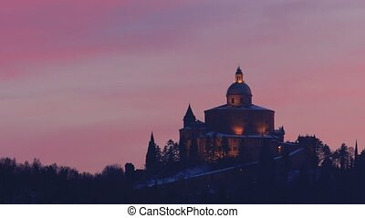 San Luca Church in twilight snow - Distant view of Sanctuary...