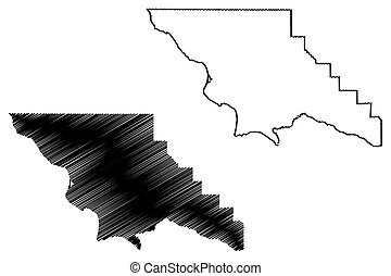 San Luis Obispo County, California (Counties in California, United States of America, USA, U.S., US) map vector illustration, scribble sketch San Luis Obispo map