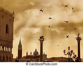 san marco carré, à, dramatique, nuages, et, oiseaux, dans, venise, italie