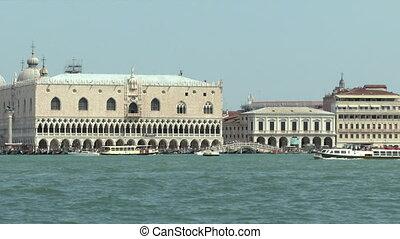 San Marco lagoon - Sea view of Doge%u2019s Palace, Venice...