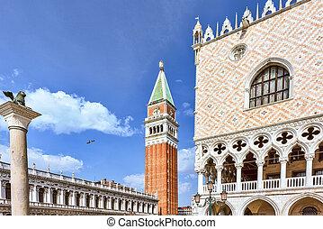 San Marco Square in Venice, Italy. Campanile The Tower of Venetia