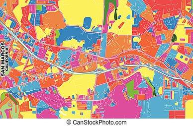 San Marcos, California, USA, colorful vector map