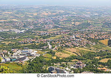 Aerial View of Microstate San Marino Landscape
