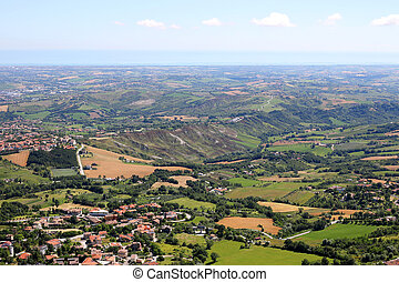 San Marino and Adriatic sea landscape summer season