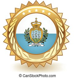 San Marino Badge - Gold badge with the flag of San Marino.