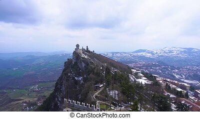 San Marino castle - San Marino historical castle fortress on...